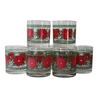 Poinsettia Low Ball Glasses - Set of 8