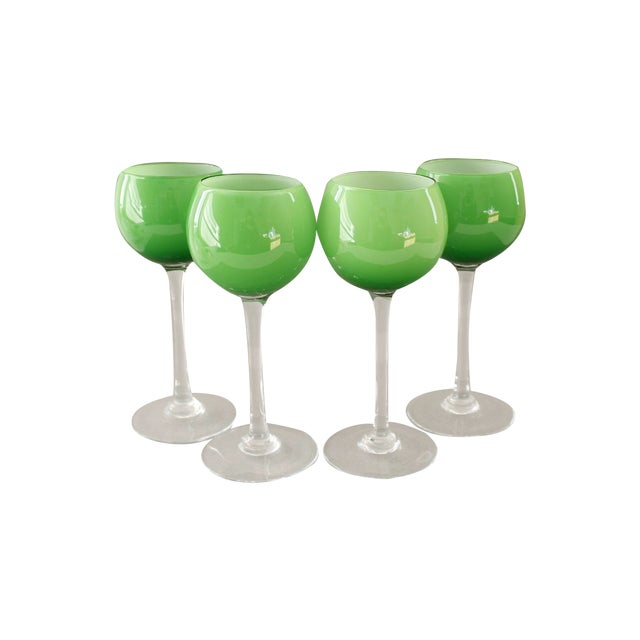 Carlo Moretti Green Wine Goblets - Set of 4 - Image 1 of 5