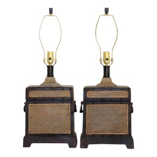 Travel Case Shaped Table Lamps, A Pair