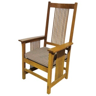 Stickley Oak Upholstered Side Chair