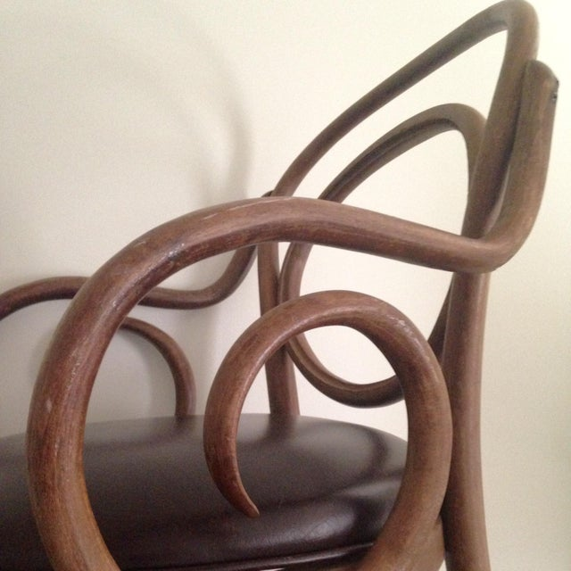 Image of Thonet Style Bentwood Arm Chairs - A Pair