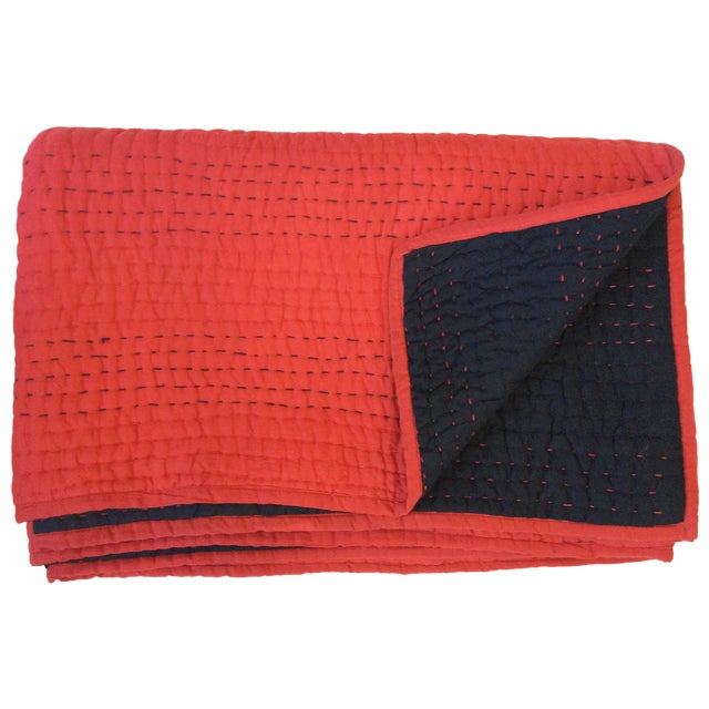 Red & Black Kantha Coverlet - Image 1 of 4