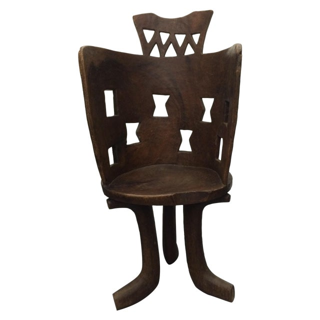 Antique Ethiopian Hand Carved Wooden Chair - Image 1 of 6