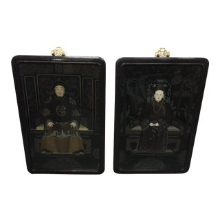 Chinese Reverse Painted Glass Ancestor Portraits - A Pair
