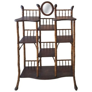 English Antique Root Bamboo and Wood Etagere