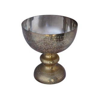 Brass Engraved Footed Centerpiece