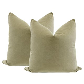 "22"" Spanish Moss Green Velvet Pillows - a Pair"