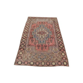 Vintage Hand-Knotted Boho Style Turkish Rug