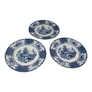 Blue and White Transferware Plates - Set of 3