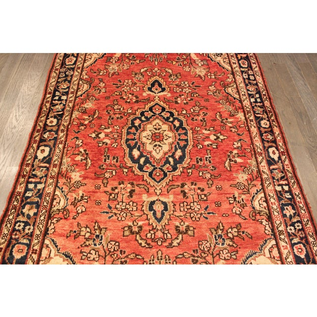 "Vintage Red & Blue Persian Wool Rug - 4'1"" X 6'8"" - Image 4 of 4"