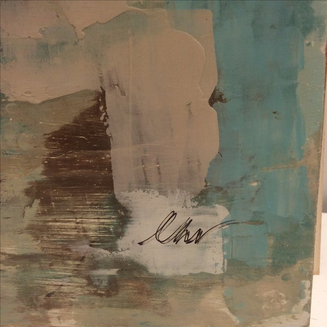 Raw Turquoise Acrylic & Plaster Abstract Painting - Image 5 of 9