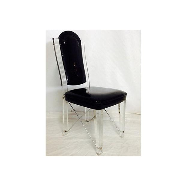 1970s Lucite & Chrome High Back Chairs - S/4 - Image 4 of 6
