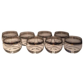 Dorothy Thorpe Mid-Century Silver Rimmed Glasses - Set of 8