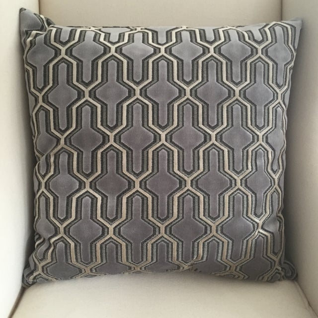 Velvet Pillow with Geometric Pattern - Image 2 of 3