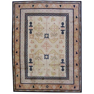 1930s Antique Chinese Hand Made Fete Rug- 9′ × 11′7″