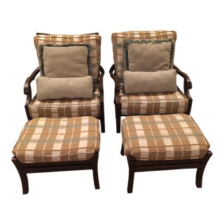 Classic Wrought Aluminum Lounge Chairs & Ottomans- A Pair