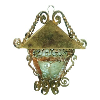 Folk Art Lantern with Copper Scroll Work