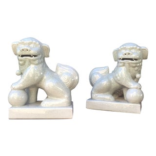 Vintage Inspired Asian Fu Dog Ceramic Statues - Pair