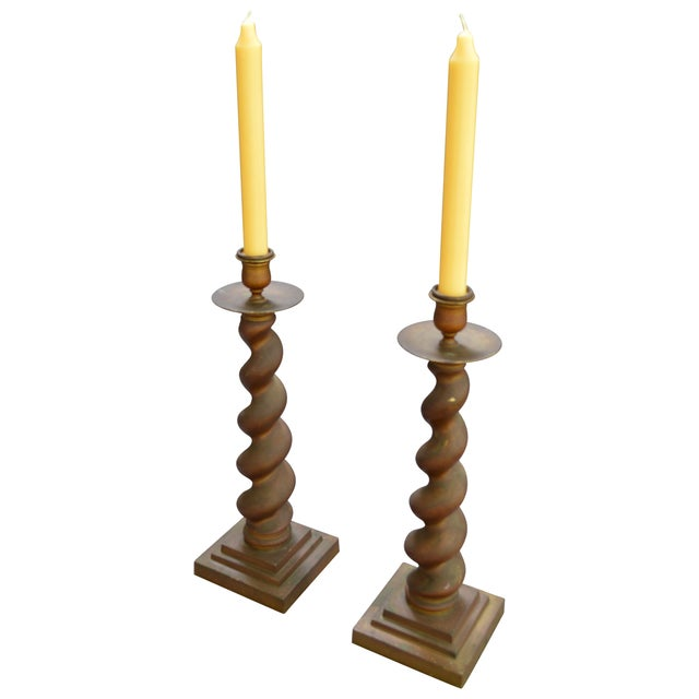 Vintage Brass Candlesticks - Pair - Image 2 of 8