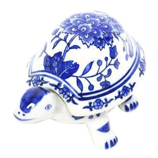 Baum Brothers Blue and White Turtle Porcelain Trinket Box