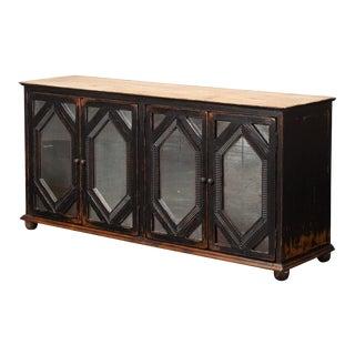 Sarreid Ltd Antique Black Finished Mirrored Wall Cabinet