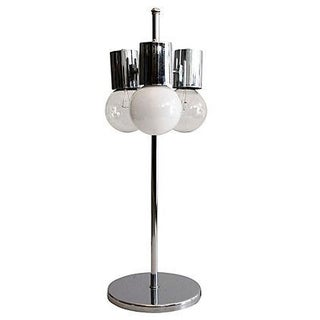 Chrome Midcentury Modern Glam Globe Table Lamp