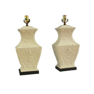 Blanc de Chine Figured Urn Shaped Lamps - A Pair