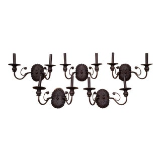 Traditional Bronze Wall Sconces - Set of 5