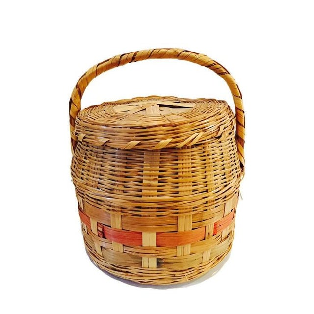 Vintage Mexican Hand Woven Lidded Basket - Image 6 of 6