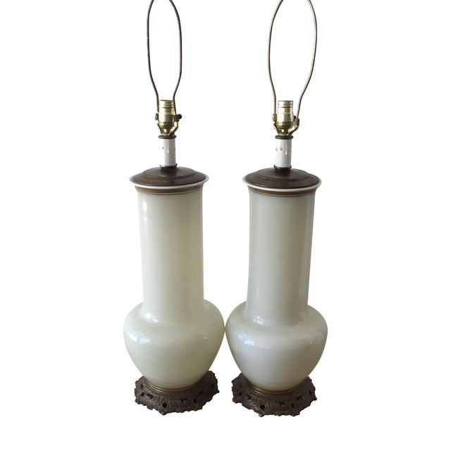 Image of Glass Opaline Table Lamps - A Pair