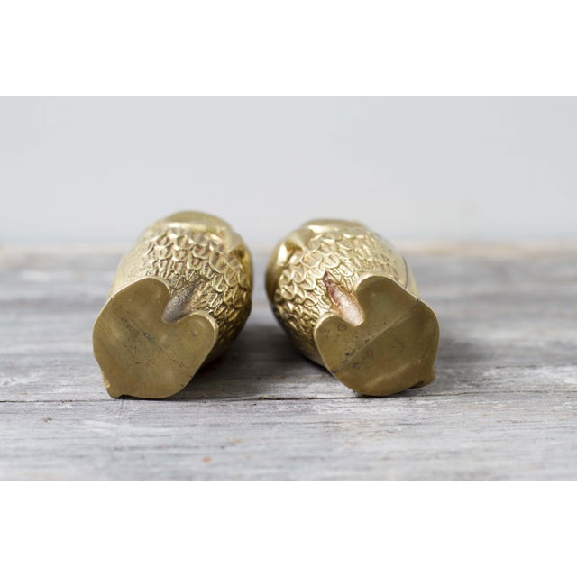 Image of Brass Plated Owl Figurines - A Pair