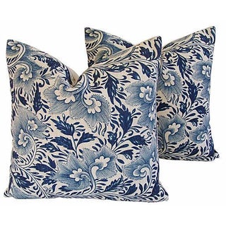 Indigo Blue Floral Linen Pillows - a Pair