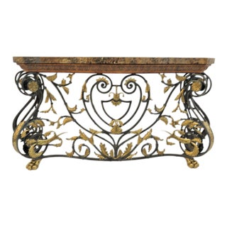 Maitland Smith Jansen Style Marble Top Console Table
