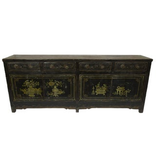 Chinoiserie Black Floral Sideboard