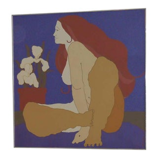 Large Italian Painting of Nude and Orchids, 1970s