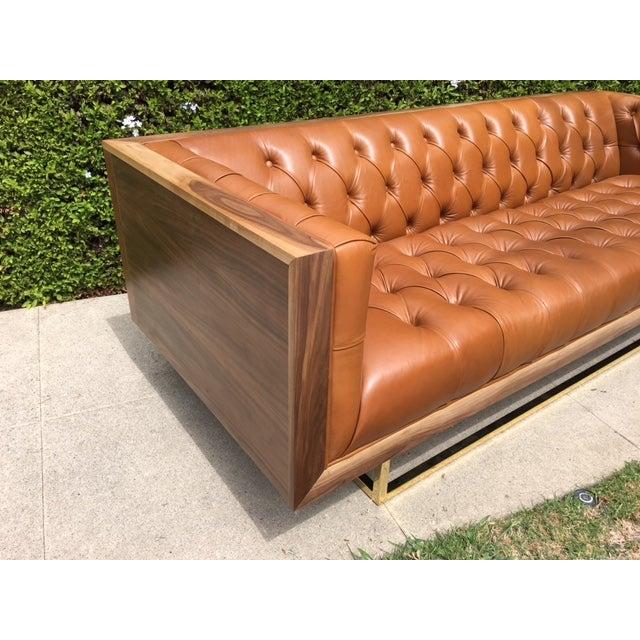 Image of Mid Century Style Walnut Brass Case Sofa