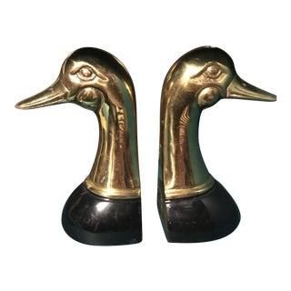 Brass Duck Head Bookends - A Pair