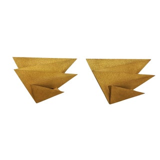 Gold Metal Wall Sconces - A Pair