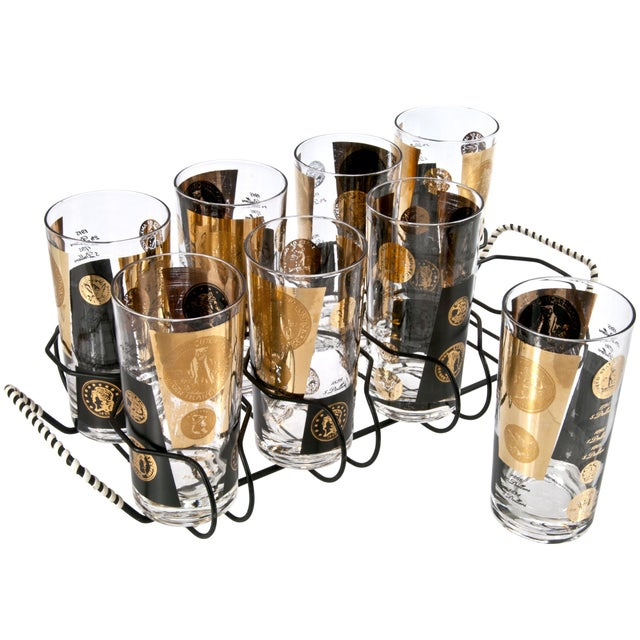 Mid-Century Cera Coin Glasses & Caddy - Set of 8 - Image 2 of 2
