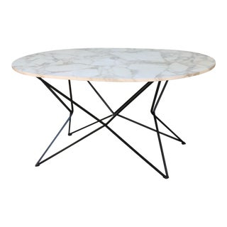 Wrought Iron and Carrera Marble Top Vintage Table