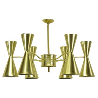 Litecraft Chandelier with Six Pierced Hourglass Shades and Twelve Lights