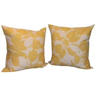 Custom Yellow & White Floral Pillows - A Pair