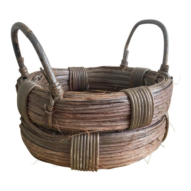 Rustic Wicker Basket, Vintage Holiday Decor - Image 1 of 7