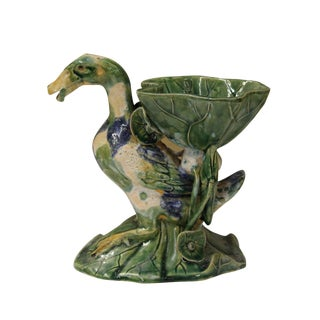 Handmade Green Duck & Lotus Vase