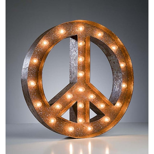 "24"" Vintage Marquee Peace Sign Light - Image 2 of 3"