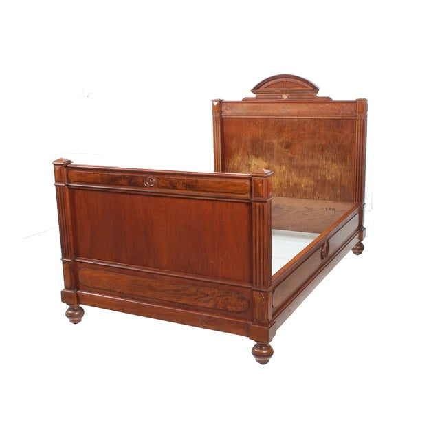 19th c french empire style walnut bed chairish for Empire style bed