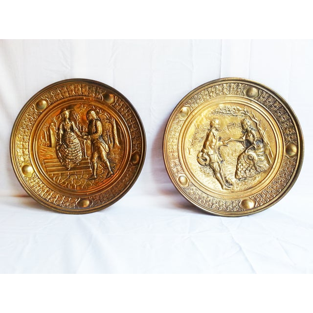 Vintage Decorative Brass Wall Plates - A Pair - Image 2 of 6