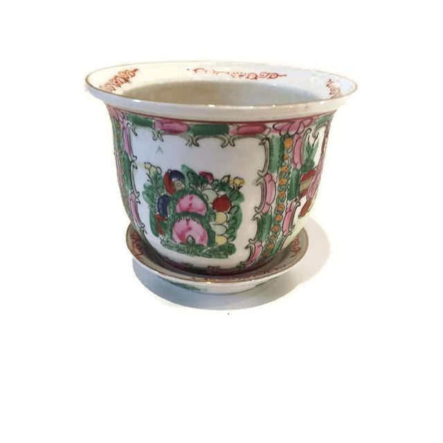 Vintage Rose Medallion Chinoiserie Planter Pot - Image 1 of 6