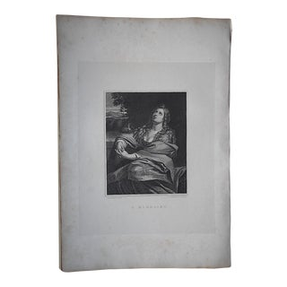 "Antique Copperplate Engraving By Domenichino-""Magdalen""-c.1807-Folio Size"