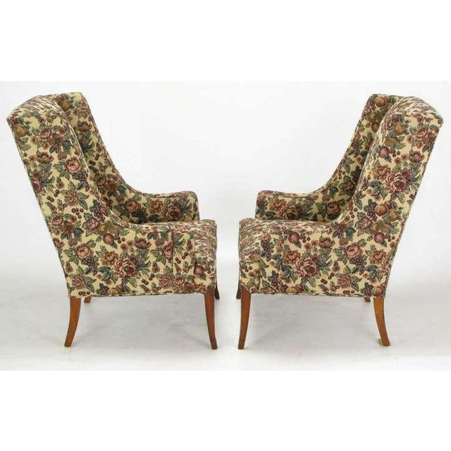 Pair Low-Arm Wing Chairs In Grosfeld House Manner - Image 3 of 9